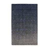 Confetti Handmade Geometric Dark Blue/ Beige Area Rug (2' X 3')
