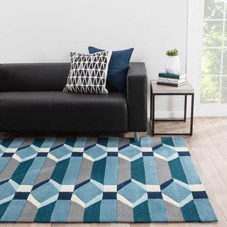 Yates Indoor/ Outdoor Geometric Blue/ Gray Area Rug (2' X 3')