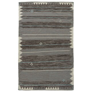 Flatweave Tribal Pattern Blue/ Black Wool and Cotton Area Rug (2' x 3')