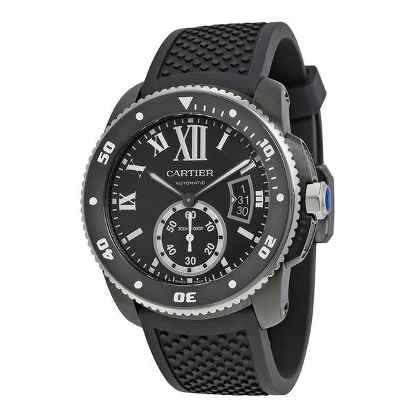 Cartier Men's WSCA0006 'Calibre de Diver' Automatic Black Rubber Watch