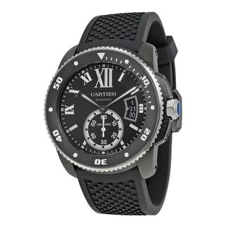 Cartier Men's WSCA0006 'Calibre de Diver' Automatic Black Rubber Watch