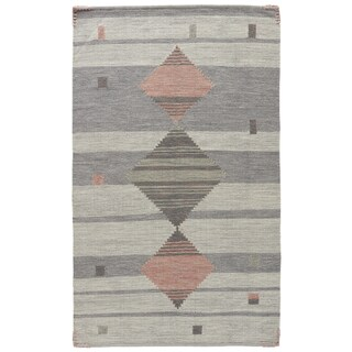 Youth Tribal Pattern Grey/ Pink Wool and Cotton Area Rug (2' x 3')
