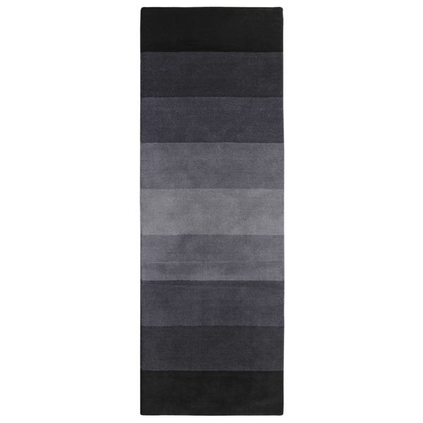 Black to Grey Stripes Runner (2.5' x 8') - 2.5' x 8'
