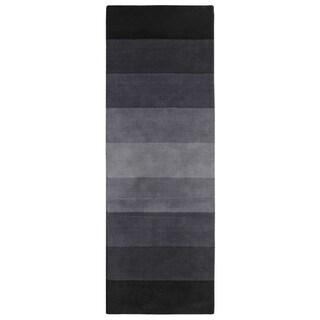 Black to Grey Stripes Runner (2.5' x 8')