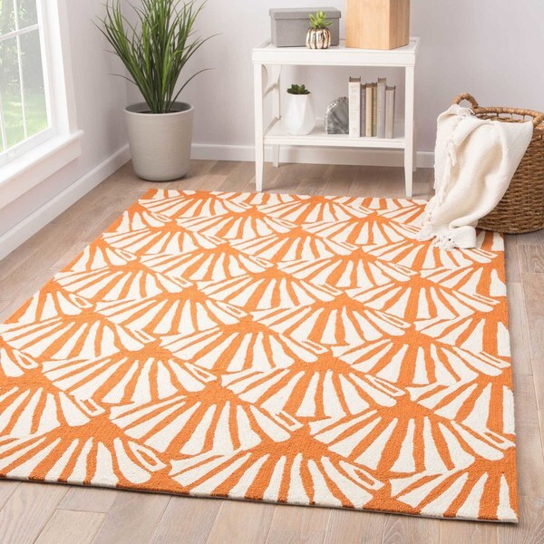 Catteau Indoor Outdoor Geometric Orange Cream Area Rug