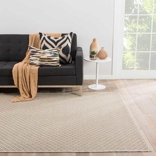 Zircon Indoor/Outdoor Solid Beige/ White Area Rug (2' X 3')