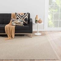Zircon Indoor/Outdoor Solid Beige/ White Area Rug (2' X 3')