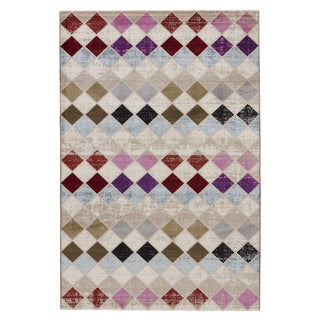 Youth Geometric Pattern Neutral/ Blue Polypropylene Area Rug (7'6 x 9'6)