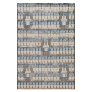 Youth Geometric Pattern Blue/ Neutral Polypropylene Area Rug (7'6 x 9'6)