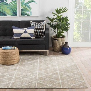 Youth Geometric Pattern Neutral Silk and Cotton Area Rug (8' x 11')
