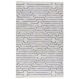 Zolin Handmade Geometric White/ Black Area Rug (8' X 11')