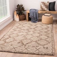 Thoren Handmade Geometric Gray/ Brown Area Rug (8' X 11')
