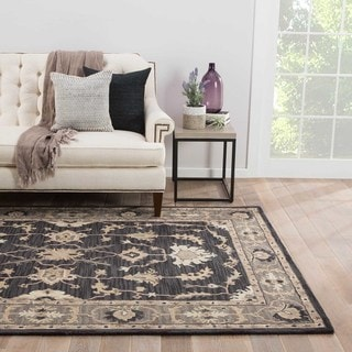 Alastair Handmade Medallion Taupe/ Black Area Rug (8' X 11')