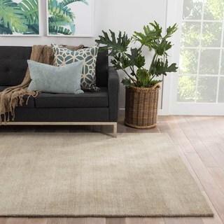 Solids & Heather Pattern Grey/ Neutral Wool Area Rug (8' x 11')