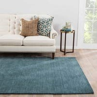 Constanz Handmade Solid Teal Area Rug (9' X 13')