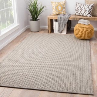 Youth Solids & Heather Pattern Grey/ Neutral Polypropylene, Viscose and Polyster Area Rug (9' x 12')