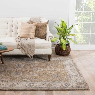 Ophelia Handmade Floral Beige/ Gray Area Rug (8' X 11')