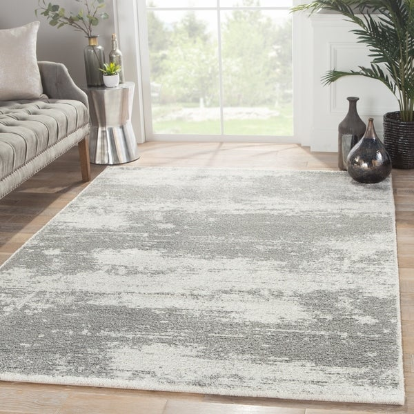 London Abstract Gray White Area Rug 7 X27