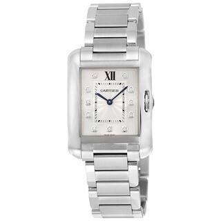 Cartier Women's W4TA0004 'Tank' Diamond Stainless Steel Watch