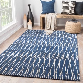 Talon Handmade Trellis Blue/ Cream Area Rug (8' X 10')