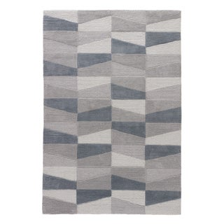 Youth Geometric Pattern Grey/ Blue Polyester Area Rug (7'6 x 9'6)
