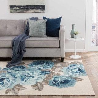 "Frida Handmade Floral White/ Blue Area Rug (7'6"" X 9'6"")"