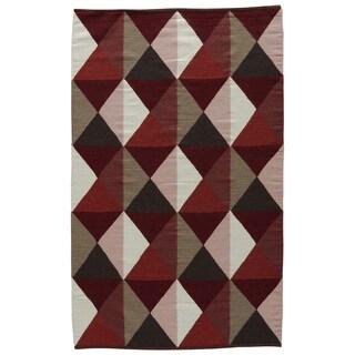 Aldrich Handmade Geometric Red/ Tan Area Rug (8' X 11')