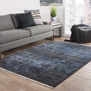 "Svana Abstract Black/ Blue Area Rug (9' X 12') - 8'10"" x 11'9"""