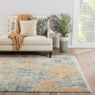 Modern Vintage Look Pattern Blue/ Yellow Viscose Area Rug (9' x 12')
