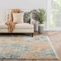 Akila Abstract Blue/ Gold Area Rug (9' X 12') - 9' x 12'