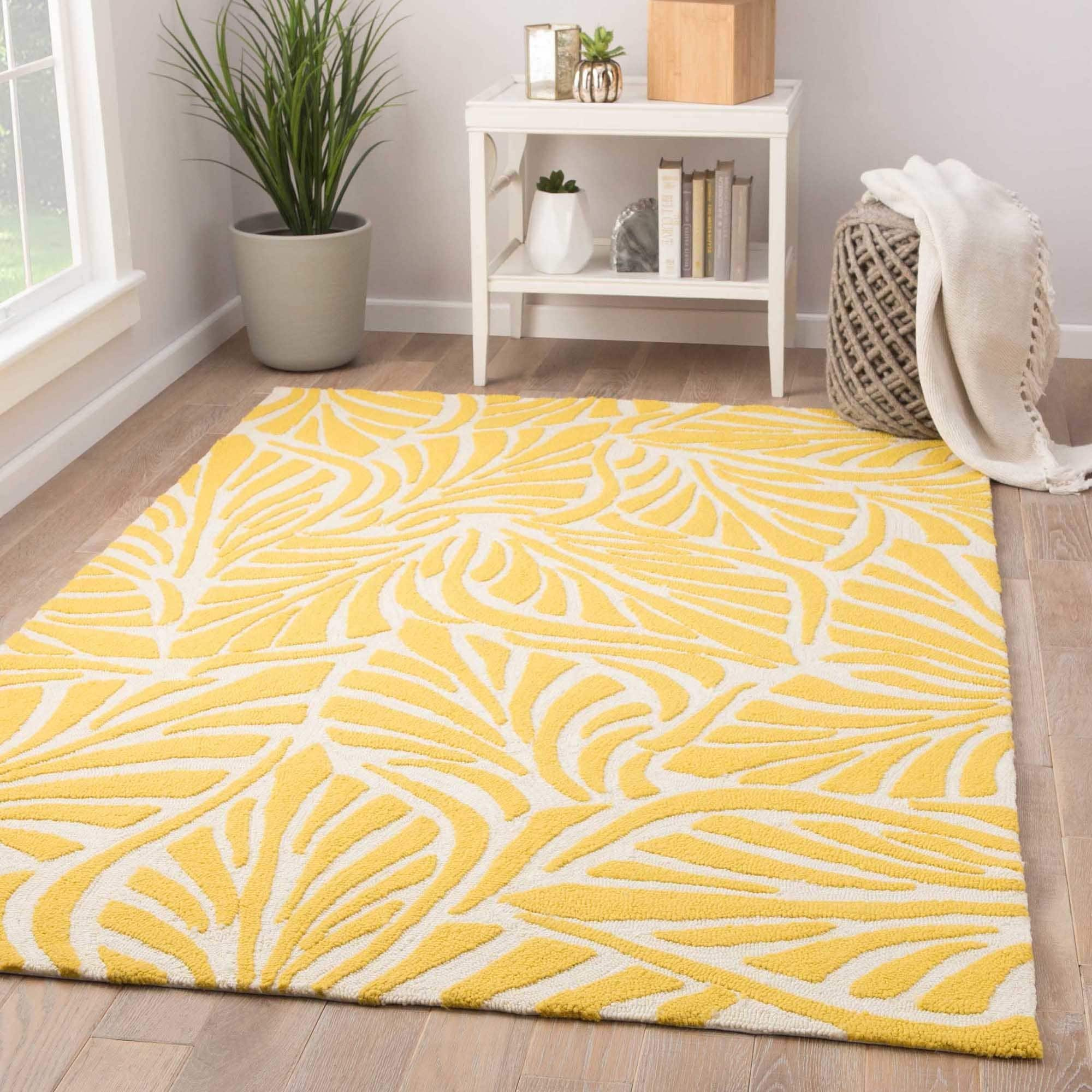 Havenside Home Cannon Indoor Outdoor Fl Yellow Cream Area Rug 7 X27