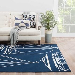 "Starboard Indoor/ Outdoor Geometric Blue/ White Area Rug (7'6"" X 9'6"")"