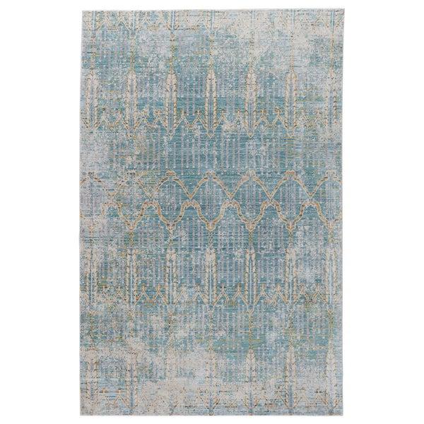 "Shop Celestia Trellis Teal/ Gray Area Rug (7'8"" X 10"
