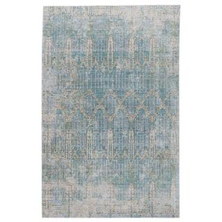 "Celestia Trellis Teal/ Gray Area Rug (7'8"" X 10') - 7'10"" x 9'10"""