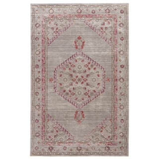 Contemporary Vintage Look Pattern Grey/ Blue Polyester Area Rug (9' x 12')