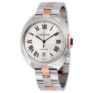 Cartier Men's W2CL0002 'Cle' 18kt Rose Gold Automatic Two-Tone Stainless Steel Watch|https://ak1.ostkcdn.com/images/products/12088670/P18953221.jpg?impolicy=medium