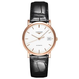 Longines Women's L47788120 'Elegant' 18kt Pink Gold Automatic Black Leather Watch