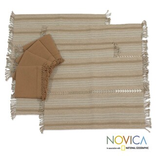 Handmade Set of 4 Cotton 'Cocoa Time' Placemats and Napkins Set (Guatemala)