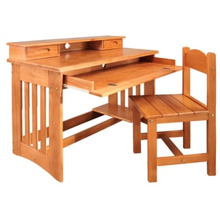 Honey-finished Wood Student Desk with Hutch and Chair