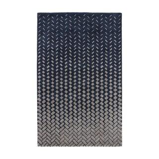 Confetti Handmade Geometric Dark Blue/ Beige Area Rug (8' X 11')
