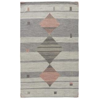 "Cherokee Handmade Geometric Gray/ Pink Area Rug (8' X 11') - 7'10"" x 10'10"""