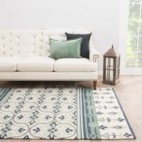 "Mila Indoor/ Outdoor Medallion Cream/ Green Area Rug (7'6"" X 9'6"")"