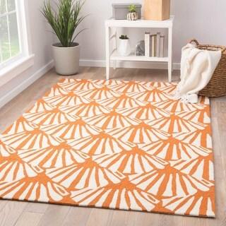 """Catteau Indoor/ Outdoor Geometric Orange/ Cream Area Rug (7'6"""" X 9'6"""")"""