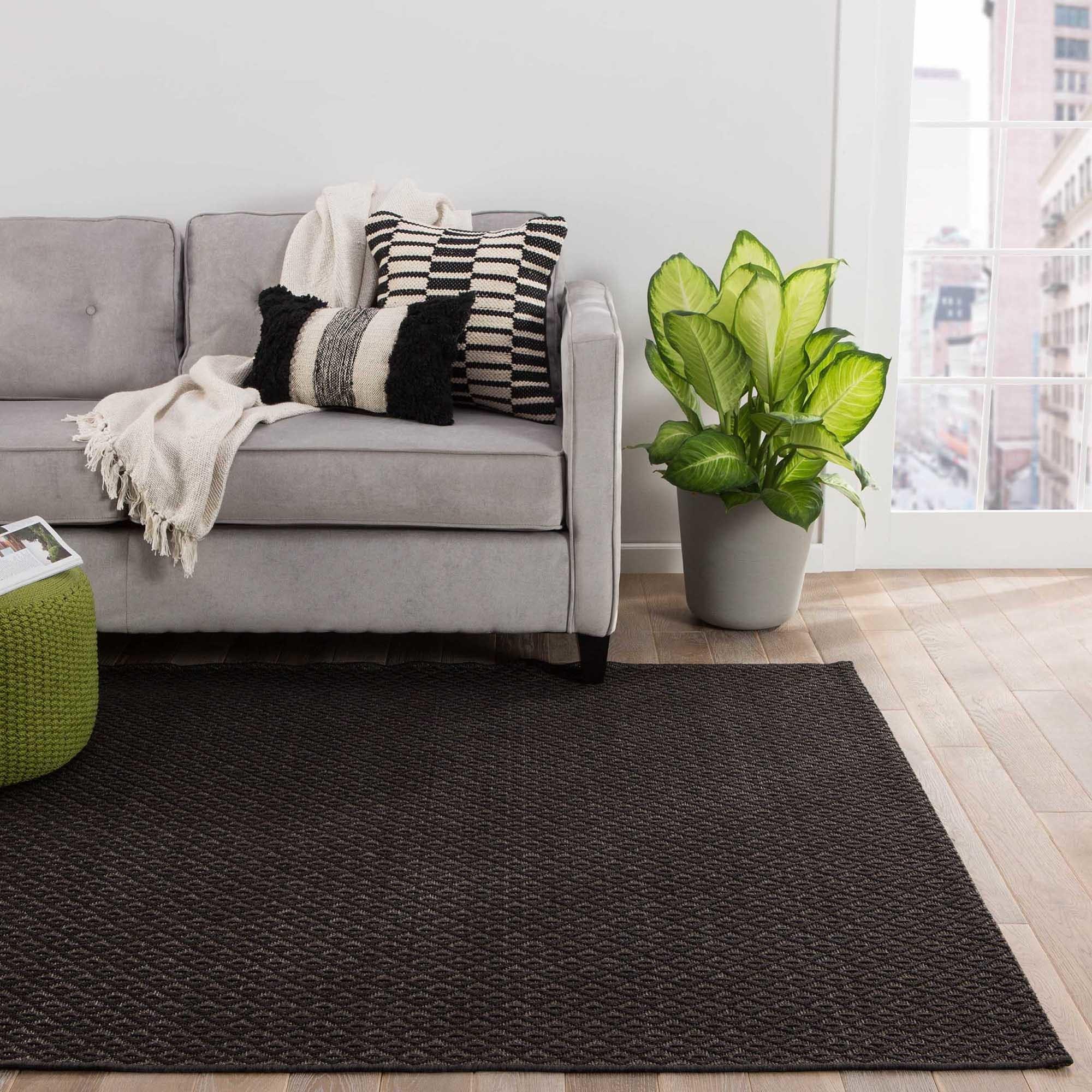 Juniper Home Zircon Indoor/Outdoor Solid Black/ Brown Are...