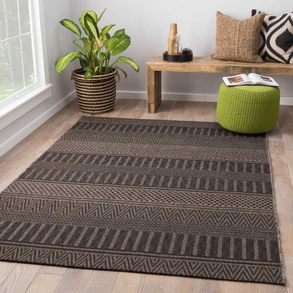 Shop Ramble Indoor Outdoor Stripe Black Gray Area Rug 8