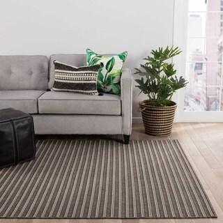 Impact Indoor/Outdoor Stripe Black/ Gray Area Rug (8' X 10')