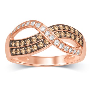 Unending Love 10k Rose Gold 1/2 Carat White and Brown Diamond Fashion Ring - Pink
