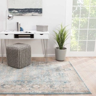 Modern Vintage Look Pattern Blue Polyester Area Rug (5' x 8')