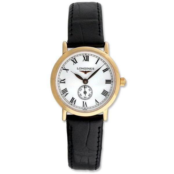 Longines Women's L42918212 'Flagship Heritage' 18kt Rose Gold Black Leather Watch. Opens flyout.