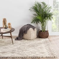 Kieron Handmade Geometric Cream/ Brown Area Rug (5' X 8')